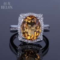 Cluster Rings HELON Real 10K White Gold Certified Oval 10x12mm Natural Citrine Diamond Engagement Wedding Ring Fashion Beautiful Women Jewel