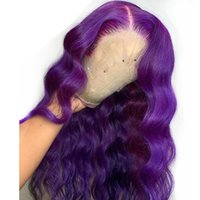 Длинная глубокая часть Кузовной волны Фиолетовая кружева передняя боковая часть Синтетическая полное кружево для женщин Теплостойкий Безверенный парик