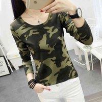 korean Fashion Women Vintage camouflage T shirt autumn Cute Printed slim Tee Femme Long Sleeve spring Tops M-XXL