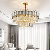 Pendant Lamps Postmodern Light Luxury Crystal Chandelier Simple Round Ceiling Living Room Lamp Villa Personality Bedroom Dining
