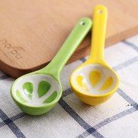 الأطفال ملاعق الفاكهة السيراميك الإبداعية الكرتون الحلوى القهوة التحريك ملعقة قابلة للإهنأ المطبخ المنزلية أدوات المائدة 8 أنماط FWB6037