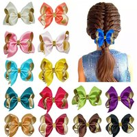Hair Accessories 4 Inches Double Color Ribbon Bowknot Toddler Clips Cute Handmade Bows Baby Hairpins DIY Children Headwear Birthday Gifts