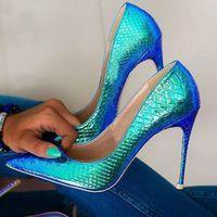 Scarpe eleganti eleganti pelle di serpente tacco alto tacco alto blu ologramma iridescente pompe poco profonde colorate tinted toe yoxc