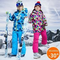 -30 degree Children clothing Set boys girl kids snowboard ski suit Waterproof outdoor sports jacket pants clothes snowsuit teen