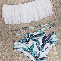 Women's Swimwear Women Off Shoulder Bikini Swimsuit Ruffle Flounce Top With Hipster Bottom Two Piece Bathing Suit
