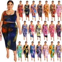 XL-5XL Artı Boyutu Kravat Boya Baskı 2 Parça Elbise Setleri kadın Kostümleri O-Boyun Kolsuz Tank Üst + Kravat Bodycon Etek Kulübü Kıyafet