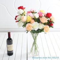 Decorative Flowers & Wreaths 1 PCS Beautiful Fake Artificial Flower Silk Rose Wedding Bouquet Home Decoration Gift 6 Colors Available F435