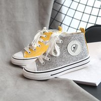 2021 Autumn Children Canvas Shoes Boys Sneakers Glitter Short Solid Girls Shoes