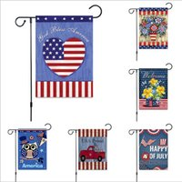 30*45cm Banner Flags American Garden Flag two styley Independence Day Flag linen outdoor July 4 Memorial Garden Flags JJA139