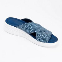 Summer Flat Slides Women Wedge Slippers Fashion knit Peep-toe Mules Wide Cross-over Straps Thick Sandals Blue Flip Flops Outdoor Shoes G001