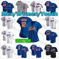 새로운 12 Francisco Lindor York Mets Jersey 34 Noah Syndergaard Pete Alonso Jacob Degrad 41 Tom Seaber 32 아론 Loup 야구 남성 여성 청소년