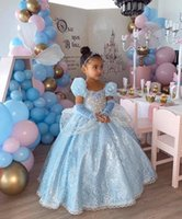 Light Sky Blue Lace Wedding Party Flower Girls' Dresses Square Neck Short Sleeves Toddler Pageant Gowns Kids Formal Wear