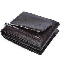 Men Wallet Genuine Cow Leather Trifold Brand Fashion Designer Male Money Luxury Purse Black And Coffee Card Holder Wallets1