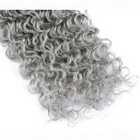 D'argento grigio profondo riccio capelli umani estensioni 3pcs lotto di colore puro grigio brasiliano 9a vergine capelli umani tessuti di capelli umani profondo estensione riccia onda