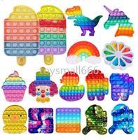 Rainbow Push Bubble Fidget Sensory Toy Stress Stendever Stress Stress Toys Giocattoli di rilievo d'ansia