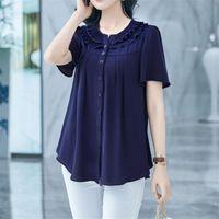Women Blouses Basic Selling Button Solid 2021 Summer Short Sleeve Shirt Female Chiffon Women's Slim Clothing Plus Size Tops & Shirts