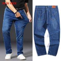 Artı Boyutu 42 44 46 48 50 Yağ Kot Erkekler Klasik Gevşek Düz Denim Pantolon Orta Bel Esneklik İş Rahat Marka Pantolon