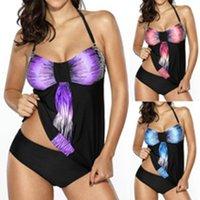 Новые Женщины Мода Цвет Блок Холтер Шеи Сексуальные Бикинис Наборы Ruched Swimswear Плюс Размер Купальные Костюмы