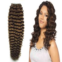 Human Tape in kinky curly Skin Weft 100% curly tape hair extensions #4 Dark Brown tape in human hair extensions 100g 40pcs