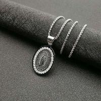 Pendant Necklaces POTCET Neutral Stainless Steel Catholic Virgin Titanium Necklace Geometric Fashion Hip Hop Party Jewelry
