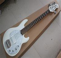Fábrica White 5 String Ernie Ball Music Man Stingray Musicman Deluxe Guitarra eléctrica Bass Pickups activos 9V batería