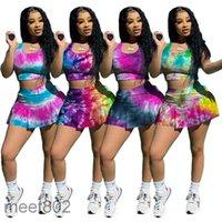 Kadın İki Parçalı Elbise 2021 Yaz Tasarımcısı Moda kadın U Boyun Kravat Boya Gece Kulübü Tarzı Slim Fit Spor Yelek Etek Iki Parçalı Setleri