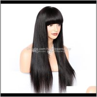 Productsglueless Front Wigs 180Percent Density Brazilian Remy Human Hair Yaki Straight With Full Bangs Lace Wig For American Drop Delivery 2
