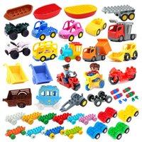 Modelo de coche Niños ensamblan juguetes grandes Bloques de construcción Ciudad Partes de tráfico Vehículo Trailer Chassis Barco Motocicleta Compatible Ladrillo