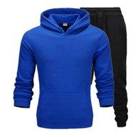 Hoodie повседневная одежда мужская пуловера свитер хлопок мужчины трексуиты две части + спортивные рубашки осень зимний трек черный PTRQ