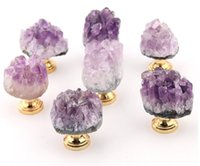 Factory Home Natural Amethyst Crystal Knobs Cabinet Stone Pulls Gemstone Handles for Cupboard Drawer Dresser Office
