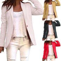 Women's Suits & Blazers Women Autumn Vintage Blazer Jacket One Button Solid Color Slim-Fit Coat Lapel Collar Pocket Long Sleeve Office Suit