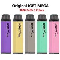 Original Iget Mega desechable E Cigarrillos 10 ml Vape Pod Dispositivo de vapo 3000 Puffs Gran capacidad enorme Vapor 8 colores