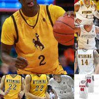 맞춤형 와이오밍 카우보이 농구 유니폼 22 래리 뉴욕 주니어 0 제이크 헨드릭 3 Kwane Marble II 10 Thompson