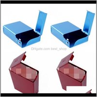 Cases de cigarettes de métal rouges Couleur solide Ouvrir la face en alliage d'aluminium REC PAQUET MULTICOLOR Fumeurs Accessoires 8 4By J2 ZVXIG ITRHL