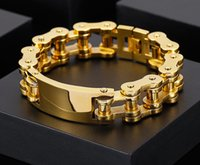 146g Weight Gold Stainless Steel ID Bracelet Motorcycle Chain Link Bangle Large 18mm 9 Inches for Mens Gifts