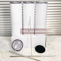EU estoque 20oz sublimação em linha tumblers 304 xícaras de água de aço inoxidável xícaras de metal canecas DHL Ship