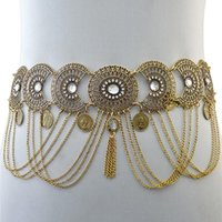 Belts Sexy Hollow Out Waist Chains Crystal Yoga Belly Belt Gypsy Women Retro Tassel Coins Pendant