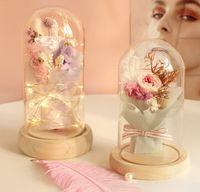Couverture en verre de rose éternelle Saint Valentin Cadeau de la Saint Valentin Cadeau Bouquet d'anniversaire Bouquet Dry Boîte cadeau Girl Present