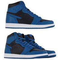 2021 Высочайшее качество Jumpman 1 Высокие Баскетбольные Обувь 1S OG Темная Марина Синий 2.0 Мужчины Женщины Наружный Досуг Snaeaker Размер 36 ~ 47 555088-404
