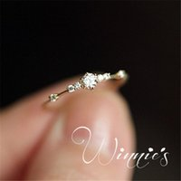 Silver Yellow Rose Gold Solitaire Ring 7 Small Diamonds Exquisite Ladies Engagement Diamond Rings Jewelry (5-10)