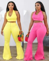 Women's Tracksuits Est 2021 Summer Halter Vest Two Piece Set Women Plus-Size Casual Solid Color Flared Trousers Pants Nigheclub Lady Outfits