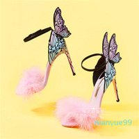 Sophia Webster Summer Winged Butterfly Party Thin High Heeled Sandals 2018 Pink Fur Female Wedding Sandals Multi Color Dress Prom Sandals