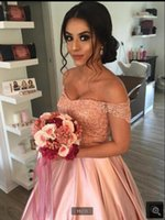 2021 robe de soiree pink satin ball gown prom dresses off the shoulder v neckline lace appliques beaded party gowns princess puffy corset vintage sweet 16 dress