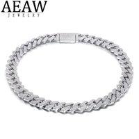AEEW 18 pouces 925 Sterling Sterling Cadrage glacé de Moissanite Diamond Hip Hop Link Chaîne Miami Collier bijoux pour Mens x0509