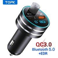 Topk G201Q 빠른 요금 3.0 Bluetooth5.0 FM 핸드프리 MP3 카드와 함께 듀얼 USB 휴대 전화 충전기