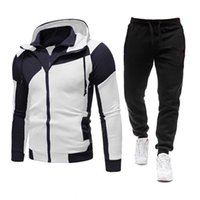 Mens Tracksuits Sets Hooded Hoodies+Pants Outfit Male Tracksuit Suits Sportswear Zipper Coats Autumn Winter Men Clothing Ropa Hombre