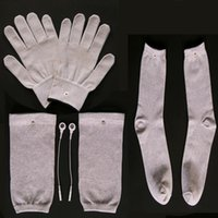 Conductive Silver Fiber TENS/EMS Electrode Therapy Gloves+Socks+Knee Pads Electrotherapy Unit For Phycical Therapy