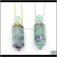 Rock Crystal Quartz Loose Pärlor Smycken Drop Leverans 2021 Kvinnor Halsband Per Flaska Hängsmycke Naturlig regnbåge Fluorit Sten Hexagon Point Bea