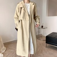 Epaulettes Lace Up Women's Long Trench With Belt Black Sleeve Sashes Female Trenches 2021 Autumn Korean Ladies Coats