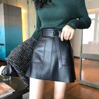 Skirts 2021 Autumn Bag Hip Skirt Korean Version Thin High Waist Black Short A-line DQ1232
